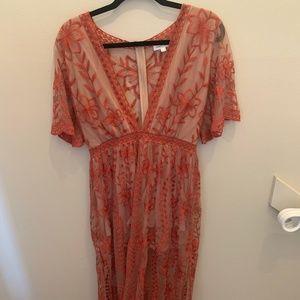 Vici Rust/Nude L Floral Dress/Romper